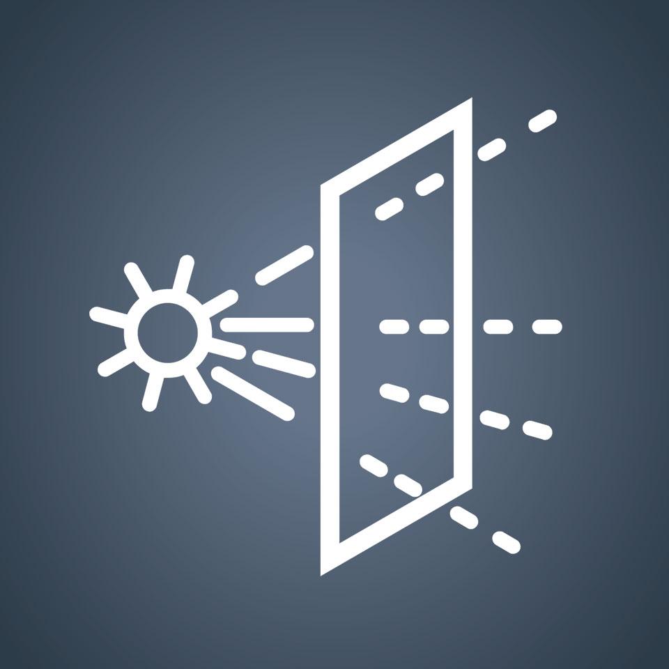 Coefficiente di trasmissione della luce.