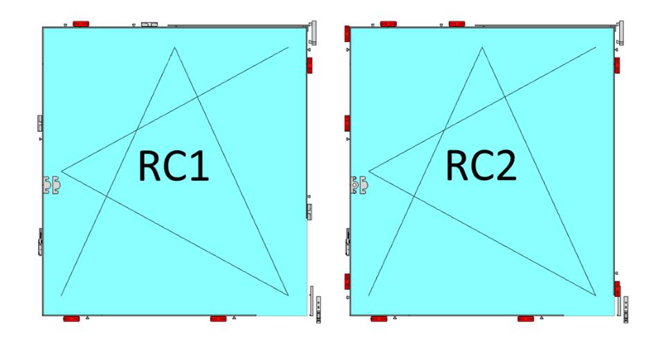 Rozmieszczenie zaczepów antywłamaniowych w pakiecie RC1 i RC2.