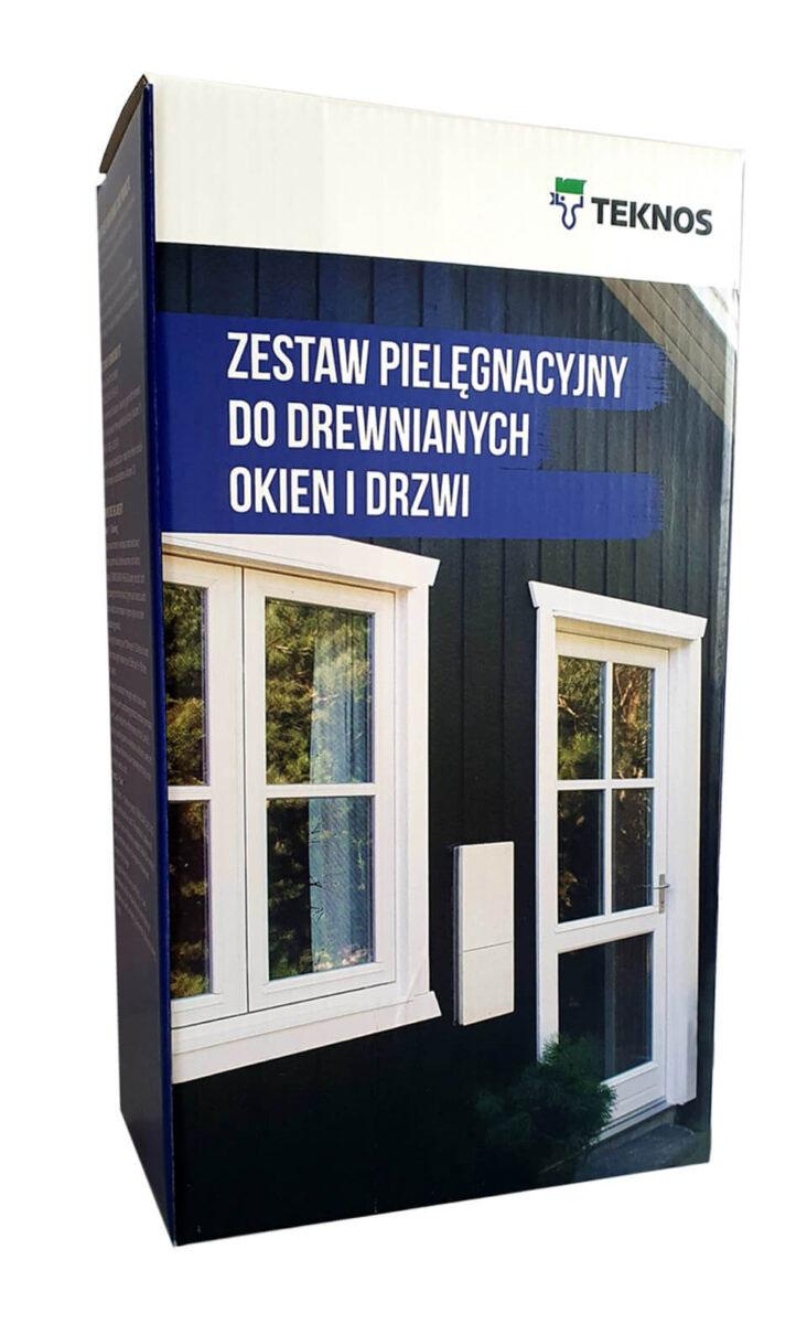 Zestaw pielęgnacyjny Teknos do drewnianych okien i drzwi.