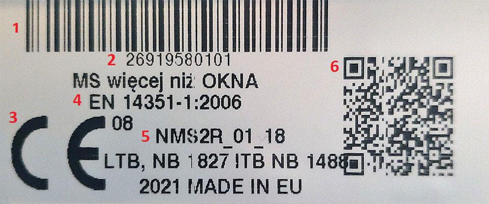 Etykieta produktów MS więcej niż OKNA.