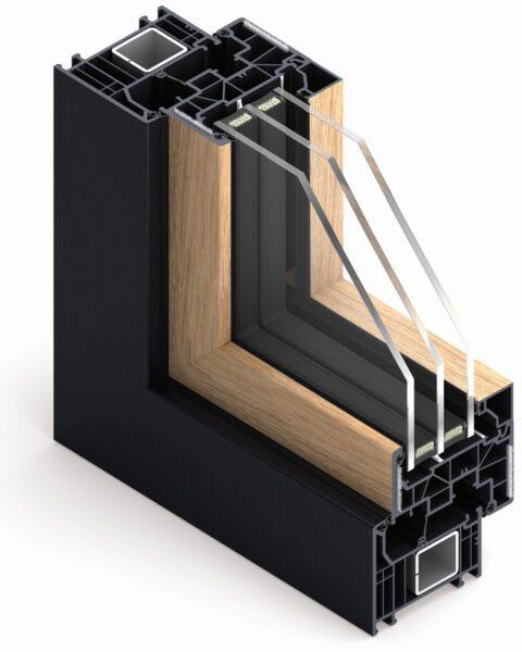 Okno BiColor - rama w ciemnym odcieniu i skrzydło w okleinie drewnopodobnej.