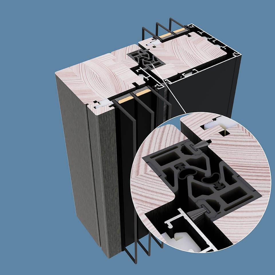 Przekrój szyny stosowanej w drewniano-aluminiowym Patio HST.