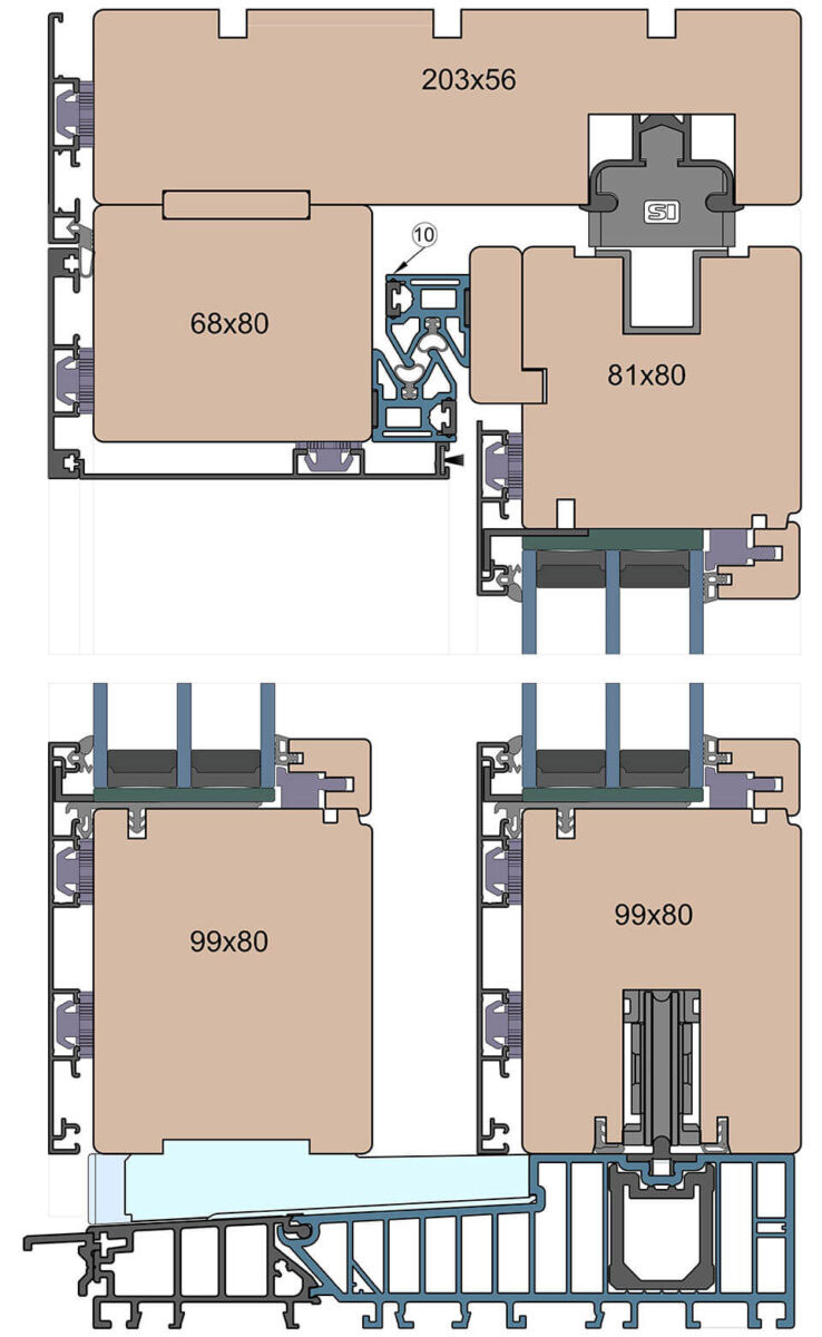 Przekrój Patio HST Modern wykonanego z profili o grubości 80 mm.