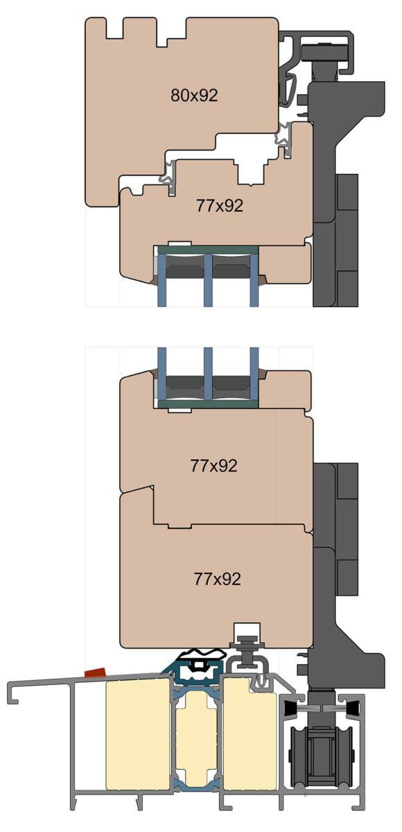 Przekrój drzwi harmonijkowych z linii Modern.