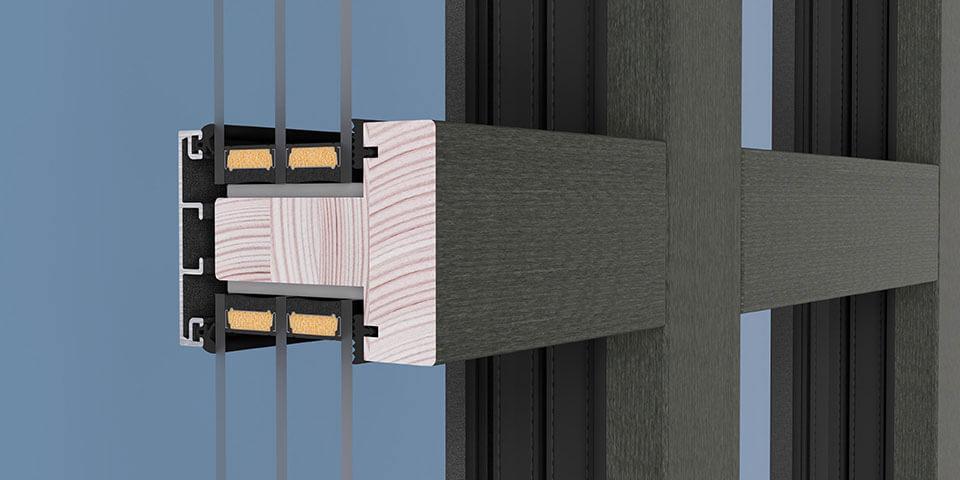 Szpros konstrukcyjny w oknie drewniano-aluminiowym, widok od strony wewnętrznej.
