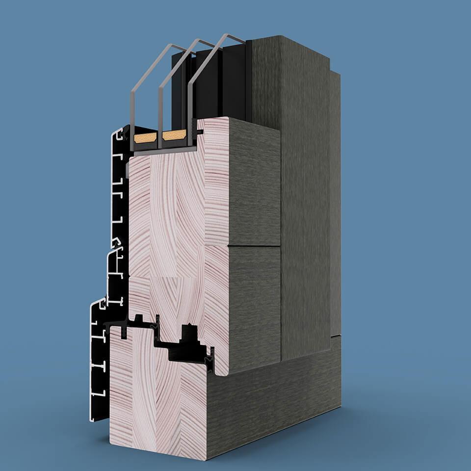 Przekrój drewniano-aluminiowego Patio FS z linii Modern, z okładzinami Classic.