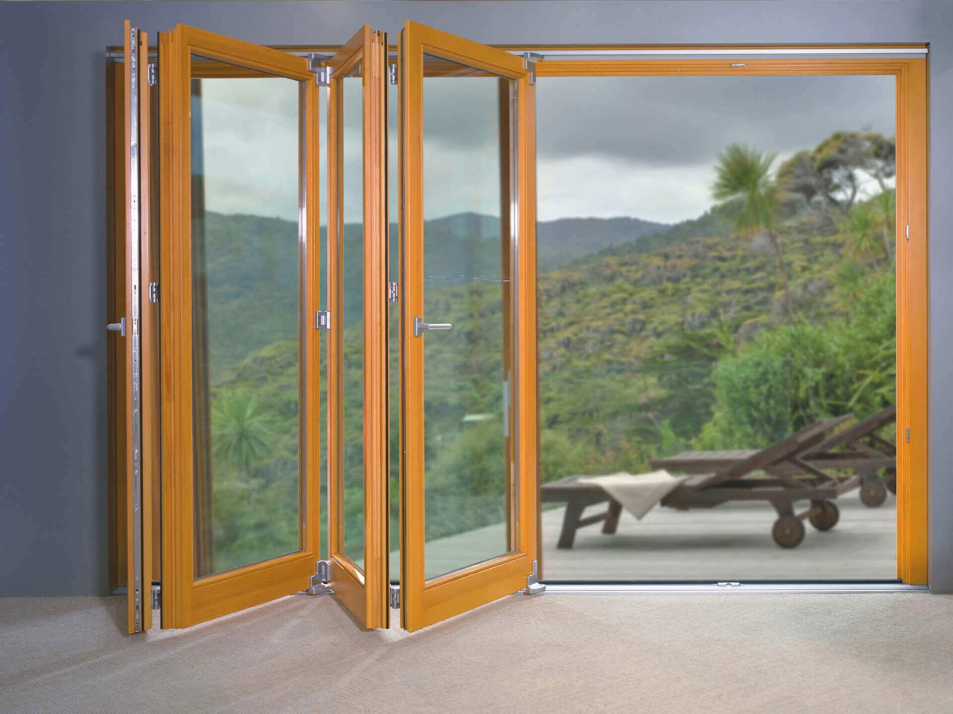 Drewniano-aluminiowe drzwi harmonijkowe Patio FS.