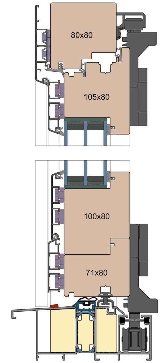 Drewniano-aluminiowe drzwi harmonijkowe wykonane z profilu o grubości 80 mm.