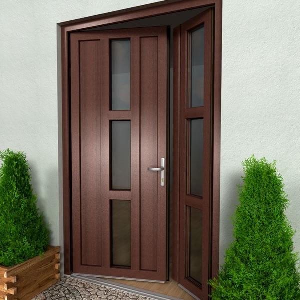 Drzwi tarasowe PVC dwuskrzydłowe.