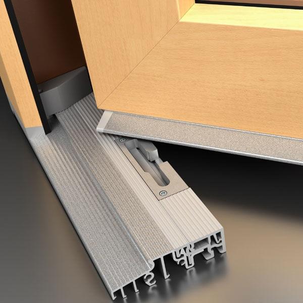 Drzwi tarasowe z niskim progiem aluminiowym.